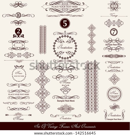 set of dark vintage vector elements, borders and frames with place for your text isolated on white background - stock vector