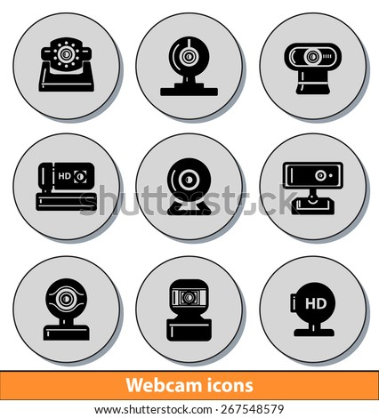 Set of dark webcam icons with reflection line - stock vector