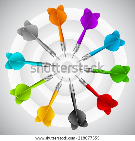 Set of darts. Vector color game concept sport - stock vector