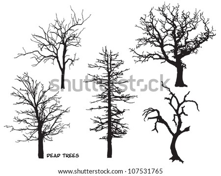 Set of Dead Trees silhouette Scary Tree Silhouette Clip Art