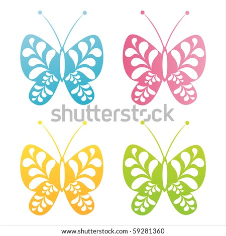 set of 4 decorated butterfly icons