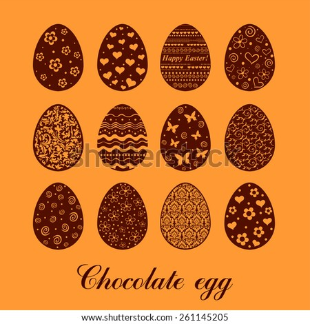 Set of decorated chocolate eggs. Vector illustration  - stock vector