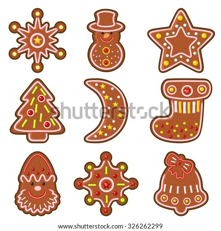 Set of decorated  Christmas cookies isolated over white - stock vector