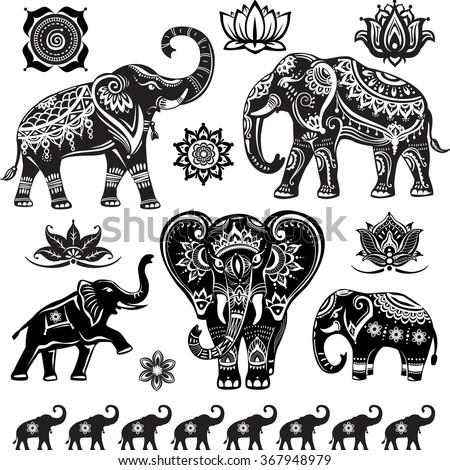 Set of decorated elephants  - stock vector