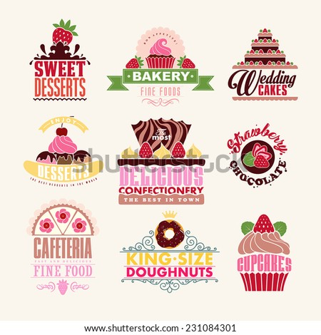 Set of decoration Bakery Tags and Emblems for cafe and bakery business. - stock vector
