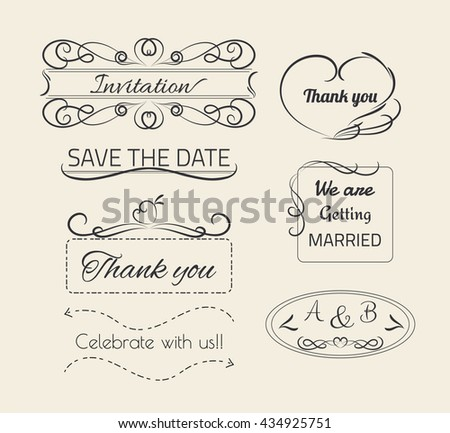 Set of decoration line drawing design wedding elements vintage dividers. Vector illustration. Can use for birthday card, wedding invitations.