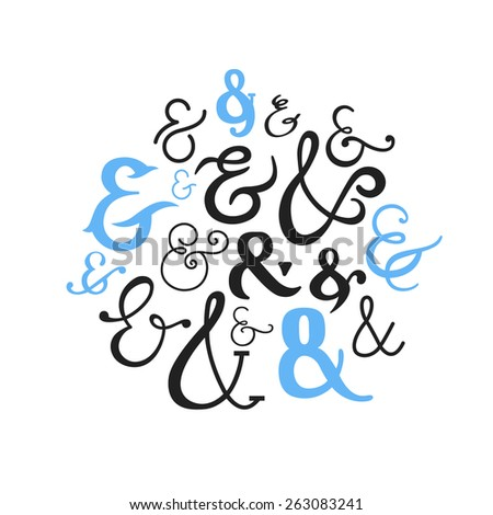 Set of Decorative Ampersands. Vector Symbols Collection. - stock vector