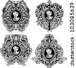 Set of decorative antique cameos with woman portrait in profile. Black and white vector illustrations. - stock photo