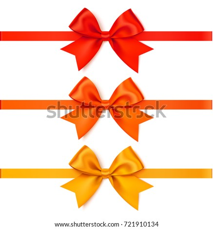 set of decorative autumn bow with horizontal ribbon for page decoration or gift pack vector