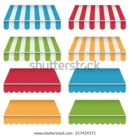 set of decorative awning, plain and striped, isolated on white - stock vector