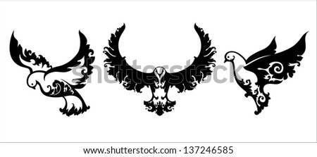 Set of decorative birds - stock vector