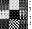 Set of 9 decorative black and white patterns - stock vector