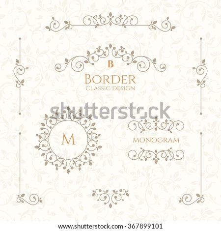 Set of decorative  borders, monograms and seamless pattern. Template signage, labels, stickers, cards. Graphic design page. Classic design elements for wedding invitations. - stock vector