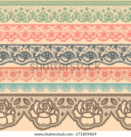 Set of decorative borders stylized like laces - stock vector