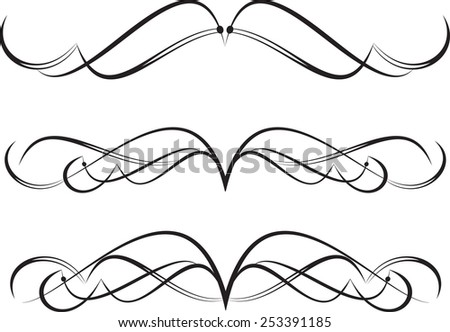 Set of decorative calligraphic elements for editable and design - stock vector