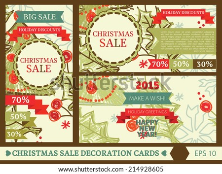 set of decorative cards for christmas sale, vector illustration