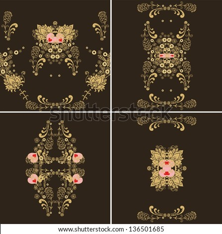 set of decorative composition - stock vector