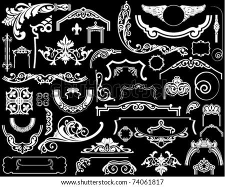 Set of decorative design components - stock vector