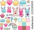 Set of decorative design elements with kawaii doodles. - stock vector
