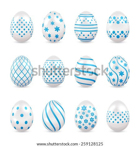 Set of decorative Easter eggs with blue patterns isolated on white background, illustration. - stock vector