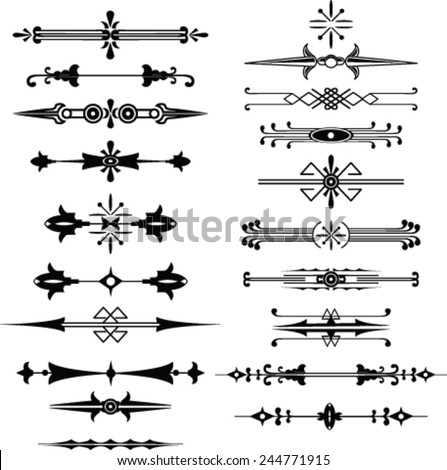 Set of decorative elements, border and page rules frame   - stock vector