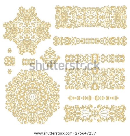 Set of decorative elements - laced rosettes and ribbons - stock vector