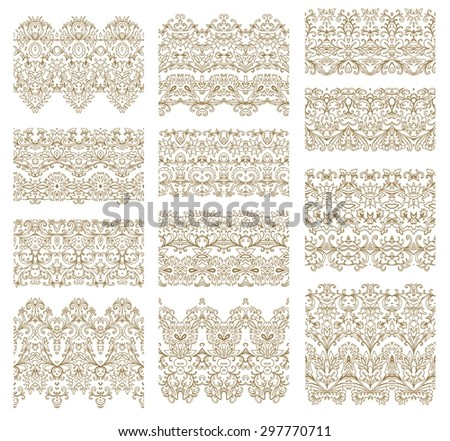 Set of decorative elements - rosettes, ribbons, - stock vector