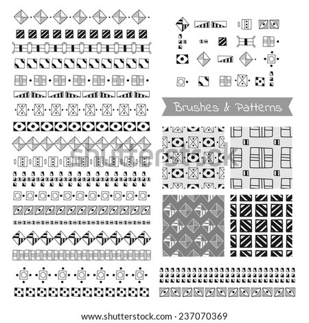 Set of decorative elements, vector brushes, borders, patterns