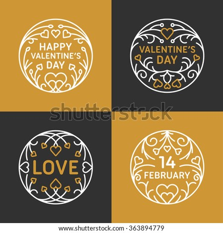Set of Decorative Floral Circle Frames. Happy Valentines Day Celebration. Vector Design Element for Greeting Card. Golden and Black Colors