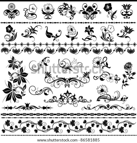 set of decorative floral elements - stock vector