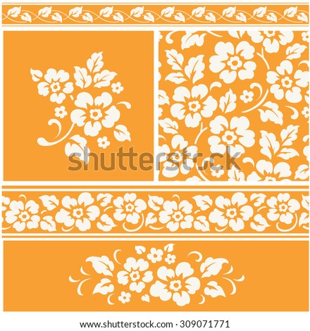 Set of decorative floral elements and seamless patterns and borders - stock vector
