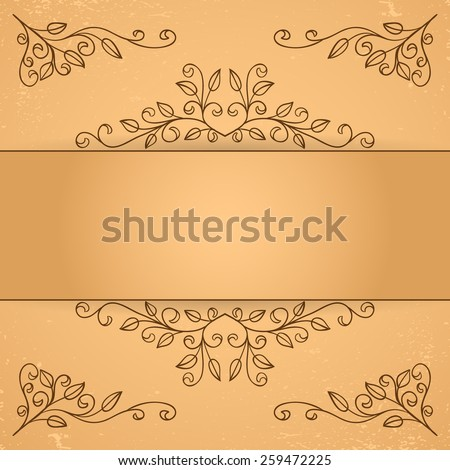 Set of decorative floral elements. Corner element and border.