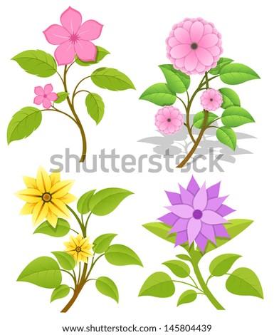 Set of Decorative Flowers - stock vector