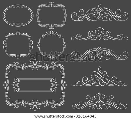 Set of decorative frames and scroll elements vector illustration. Saved in EPS 8 file with all elements are separated, well constructed  for easy editing. - stock vector