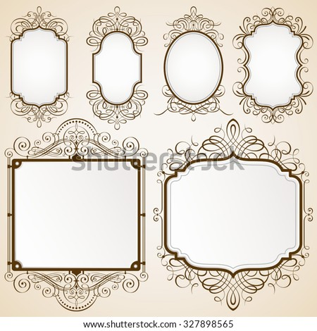 Set of decorative frames vector illustration. Saved in EPS 10 file with NO transparencies. All elements are separated, well layered and grouped, well constructed for easy editing.   - stock vector