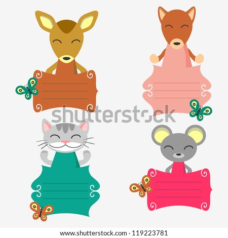 Set of decorative frames with cute animals - stock vector