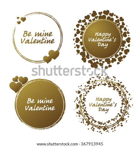 Set of decorative frames with hearts for your design. Handmade ink grunge gold circle vector template. Valentines day card.