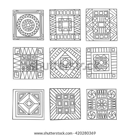 Set of decorative, geometric, abstract elements zentangl style,  hand-drawn. - stock vector