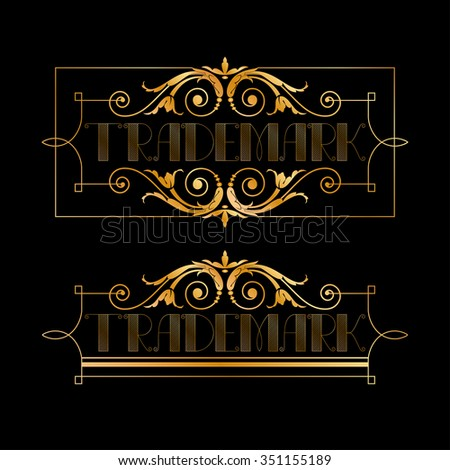 Set of decorative golden horizontal frames. Floral frame with copyspace for your text. - stock vector