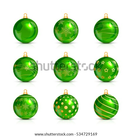 Set of decorative green Christmas balls isolated on white background, illustration.