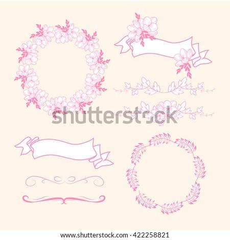 Set of decorative  hand drawn elements, embellishments, frames, borders, floral elements, botanical frames. Vector - stock vector