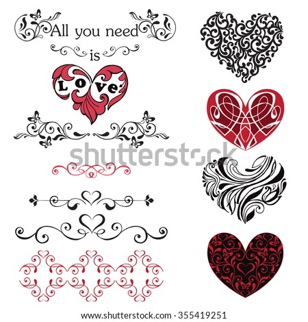 Set of decorative hearts, vignettes. Red and black hearts isolated on white background. - stock vector