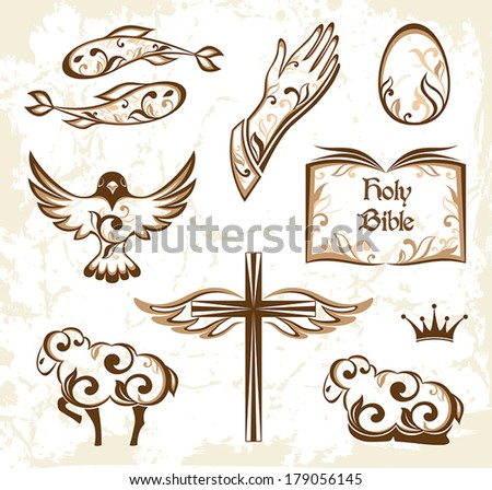 Set of decorative holy easter elements. Christian symbols. - stock vector