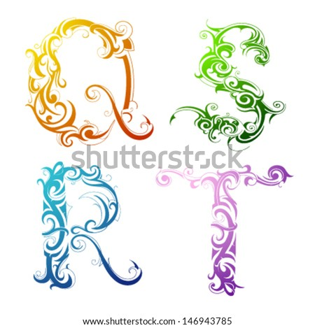 Set of decorative letter shapes - stock vector
