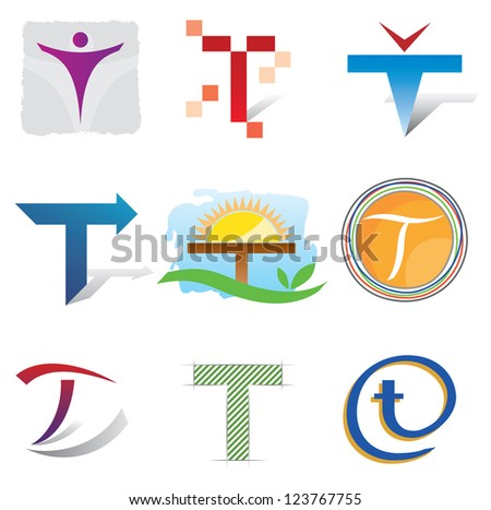Set of Decorative Letter T - Icons Logo and Elements - stock vector