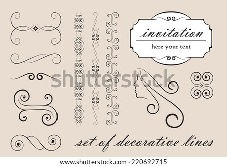 Set of decorative lines - vector elements - stock vector