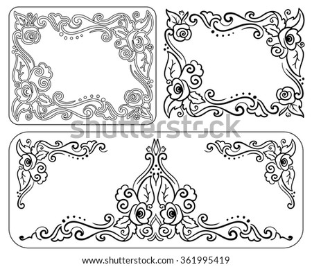 set of decorative monochrome vintage frame with roses for congratulations on his birthday, valentine day, wedding invitations and greeting cards - stock vector