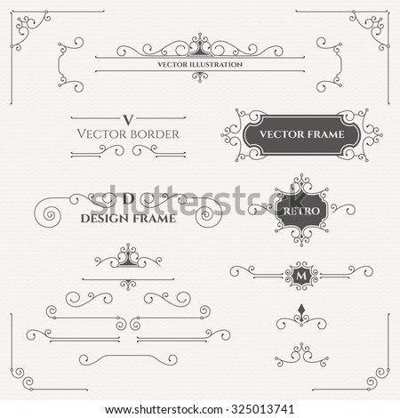 Set of decorative monograms, borders, frames, corners.  Design collection for  labels, invitations,  logos, banners, posters, badges, signage, stickers, cards. Graphic design page.  - stock vector
