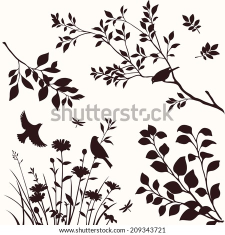 Set of decorative nature elements. Branches of tree, flower and birds silhouette - stock vector