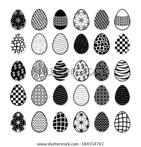 Set of decorative ornamental black and white easter eggs. - stock vector
